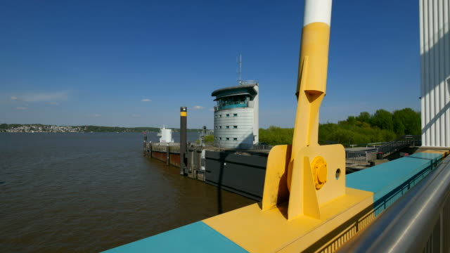 bascule bridge at the este flood barrage, cranz, hamburg, germany - bascule bridge stock videos and b-roll footage