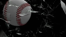 Baseball ball Shattering Glass with Alpha Channel