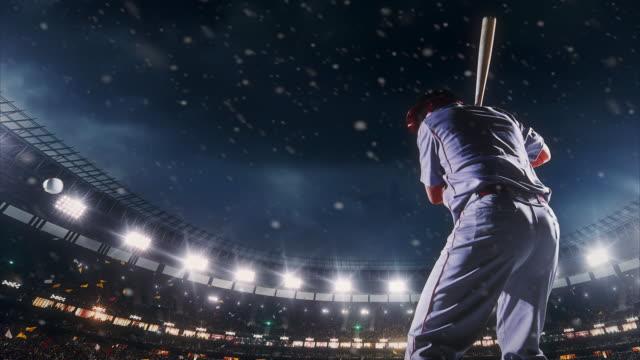 Baseball-Teig schlagen Ball im Spiel