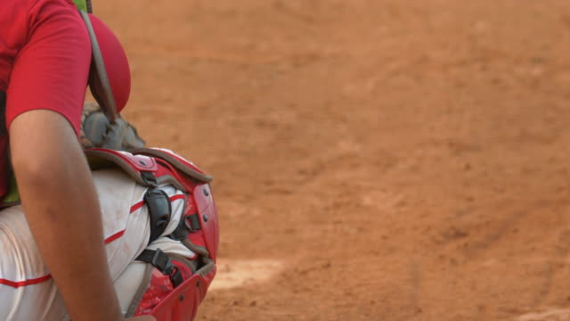 a baseball catcher makes a play at a game. - batting stock videos & royalty-free footage
