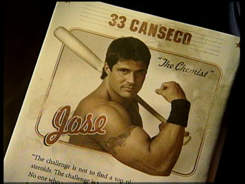 drugs crisis; cms front page of jose canseco's autobiography 'juiced' cms & picture of jose canseco 'the chemist' from book jose canseco at book... - biografia video stock e b–roll