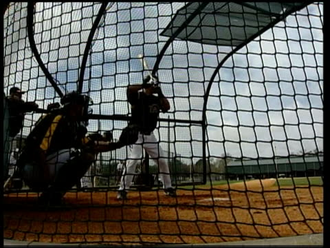 Drugs Crisis USA Florida Sequence Members of Pittsburgh Pirates baseball team practising at their training ground TRACK past team members watching...