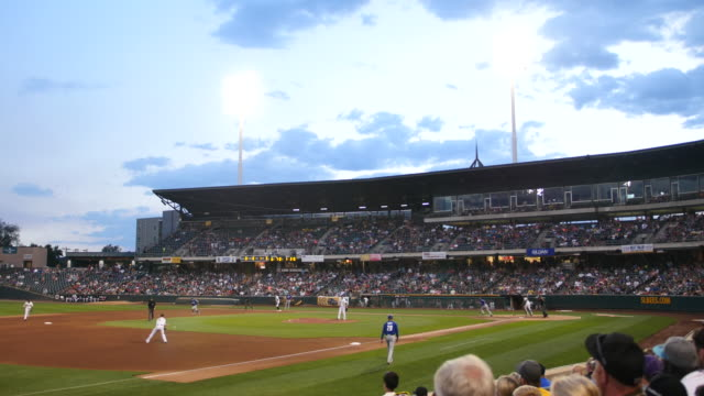 Baseball footage of the Salt Lake Bees vs Las Vegas at Smith's Ball park in Salt Lake City Utah