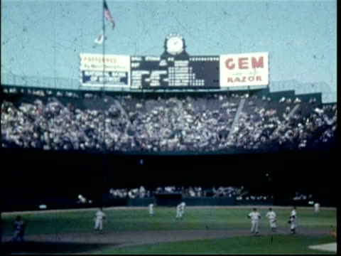 1951 baseball game at briggs stadium, detroit, usa - 1951点の映像素材/bロール