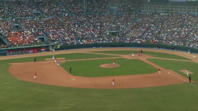 ws ha baseball game / havana, cuba - スタンド席点の映像素材/bロール