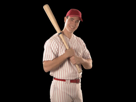 baseball player close-up with bat - this clip has an embedded alpha-channel - keyable stock videos & royalty-free footage