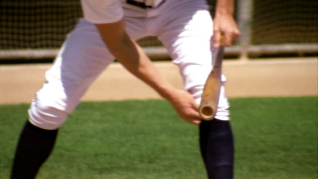 stockvideo's en b-roll-footage met slo mo cu td tu baseball player in batter box / lancaster, california, usa - benen gespreid