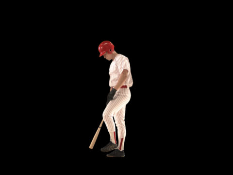 Baseball Player Swinging Bat - this clip has an embedded alpha-channel