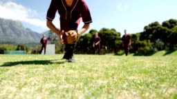 Baseball players during practice session