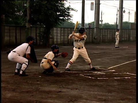 baseball players training on pitch japan - baseball bat stock videos & royalty-free footage