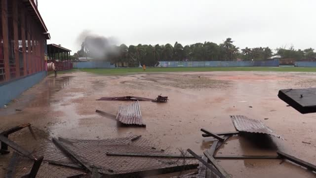baseball stadium and neighbouring streets in bilwi, northeastern nicaragua, are left damaged by hurricane eta - managua stock videos & royalty-free footage