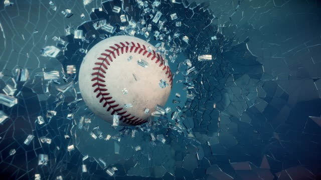 Baseball through broken glass.