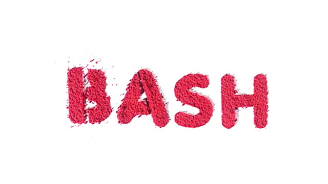 Bash written in red exploding in slow motion