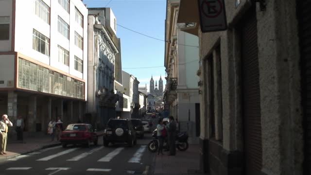 ws zo basilica of the national vow (basilica del voto nacional) and narrow street / quito, ecuador - ecuador stock videos & royalty-free footage