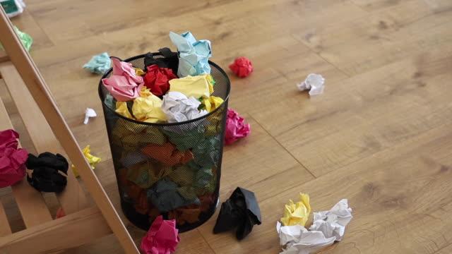 basket garbage bin full of papers - basket stock videos & royalty-free footage