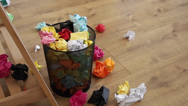 basket garbage bin full of papers - group of objects stock videos & royalty-free footage