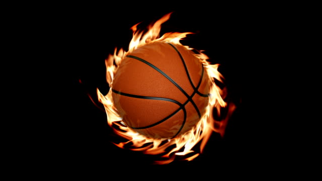 basketball and fire - alpha channel stock videos & royalty-free footage