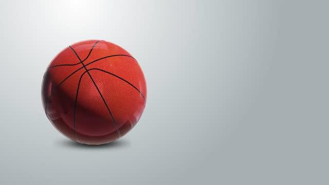 vídeos de stock e filmes b-roll de 4k basketball animation on gray gradient background - rodar