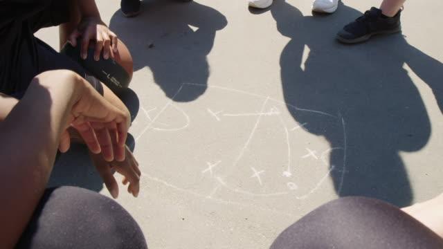 vidéos et rushes de entraîneur de basket-ball expliquant le plan de jeu au-dessus du dessin - stratégie