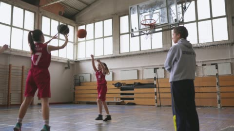 basketball coach watching girls players shot free throws on practice - sports activity stock videos & royalty-free footage