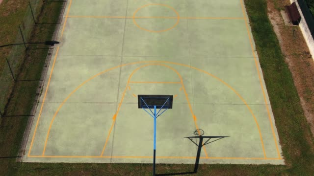 basketball court as seen from above - basketball ball stock videos & royalty-free footage