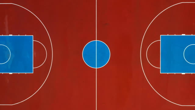 basketball court as seen from above - basketball hoop stock videos & royalty-free footage