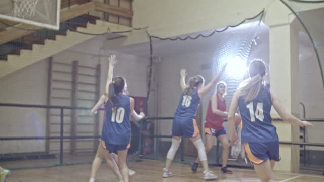 basketball game between female teams - scoring stock videos and b-roll footage