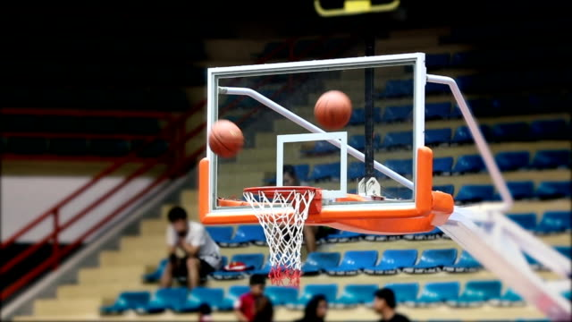basketball into hoop, slow motion - basket stock videos & royalty-free footage