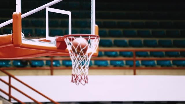 basketball into hoop, slow motion - making a basket scoring stock videos and b-roll footage