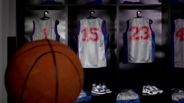 basketball locker / changing room with ball, dolly (sport kit) - locker stock videos & royalty-free footage