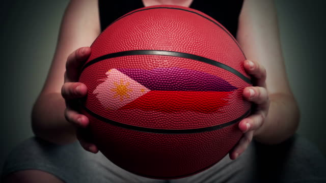 basketball painted with philippines flag - philippines flag stock videos & royalty-free footage