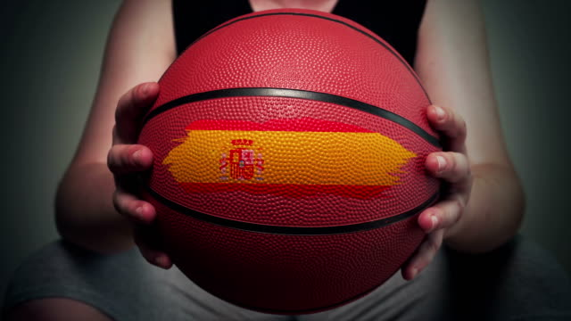 basketball painted with spanish flag - world sports championship stock videos & royalty-free footage