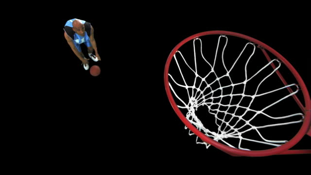basketball player dribble/dunk - pre matted stock-videos und b-roll-filmmaterial