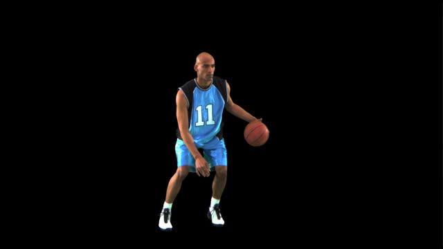 basketball player dribbling/passing ball - this clip has an embedded alpha-channel - pre matted stock videos & royalty-free footage
