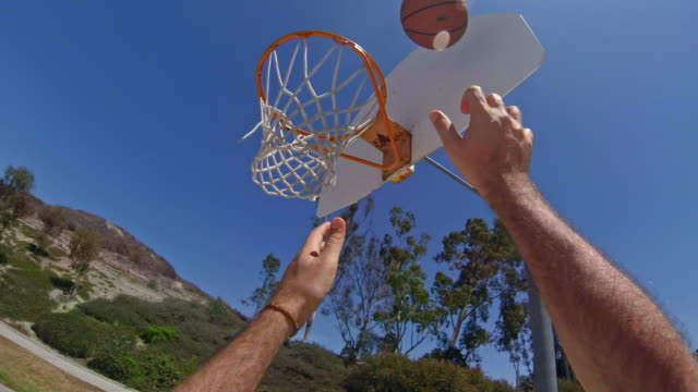 basketball player pov - shoots too high and misses - shooting baskets stock videos and b-roll footage