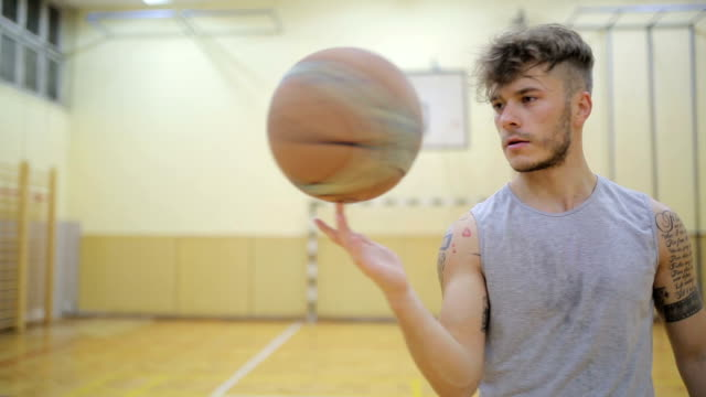 basketball player spinning a ball - finger stock videos and b-roll footage