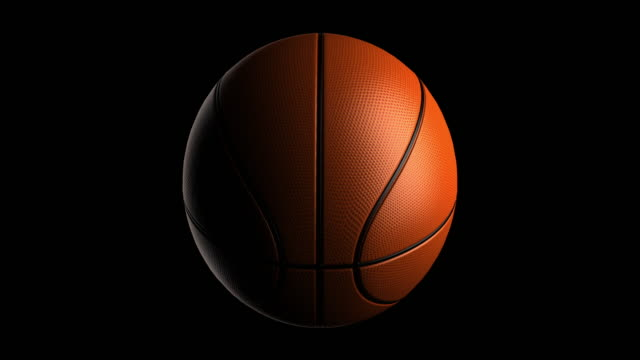 basketball rotating loop isolated with luma matte - turning stock videos & royalty-free footage