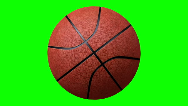 vídeos de stock e filmes b-roll de basketball rotating over a chroma key background - girar