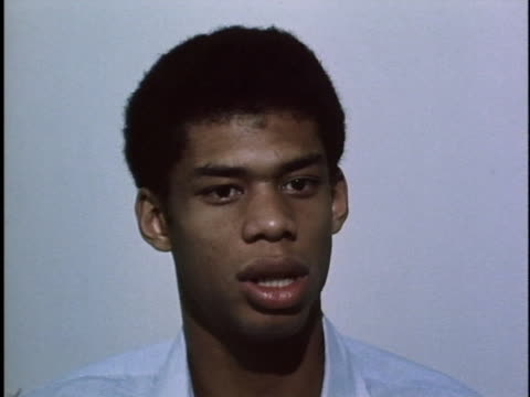stockvideo's en b-roll-footage met basketball standout lew alcindor discusses his desire to win basketball games while a player with the bruins, and that he hasn't had butterflies... - sport