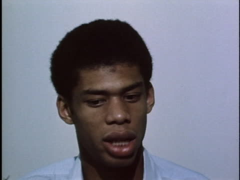 ucla basketball standout lew alcindor talks about teams who have scored points against the bruins in previous games - sport stock videos & royalty-free footage