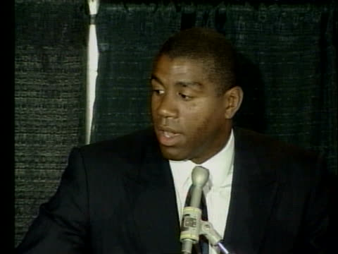 basketball standout magic johnson announces that he has the hiv virus and will be retiring from the lakers, and gives details about his future plans. - retrovirus video stock e b–roll