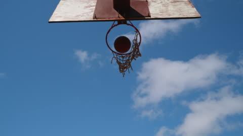basketball throw through the basketball hoop - b roll stock videos & royalty-free footage