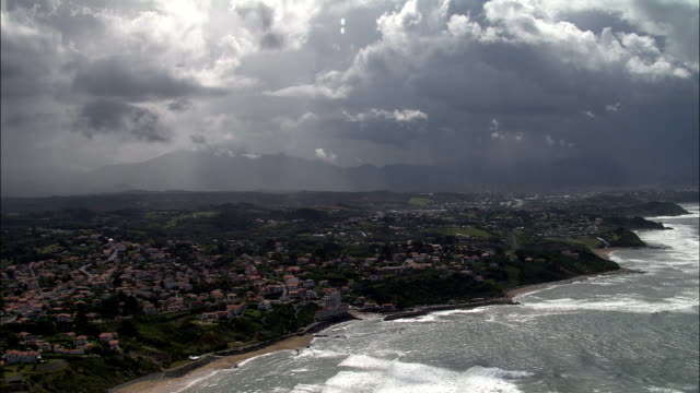 basque coastline  - aerial view - aquitaine, pyrénées-atlantiques, arrondissement de bayonne, france - aquitaine stock videos and b-roll footage