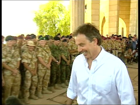 basra sequence tony blair mp reviewing addressing british troops - basra stock videos and b-roll footage