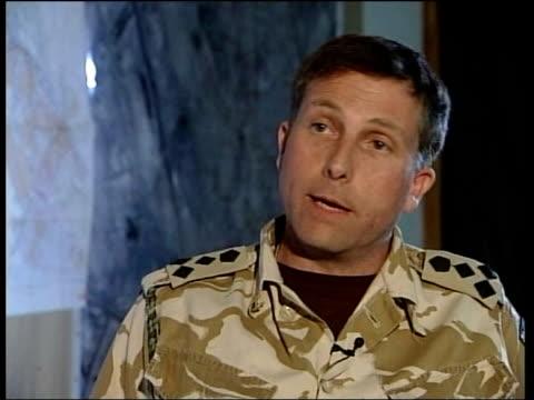 stockvideo's en b-roll-footage met mission of british troops itn brigadier nick carter interview sot - basra