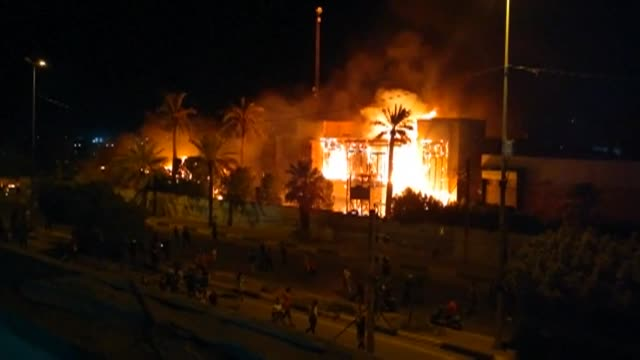 basra's governor guest house on fire amid deadly unrest - basra video stock e b–roll
