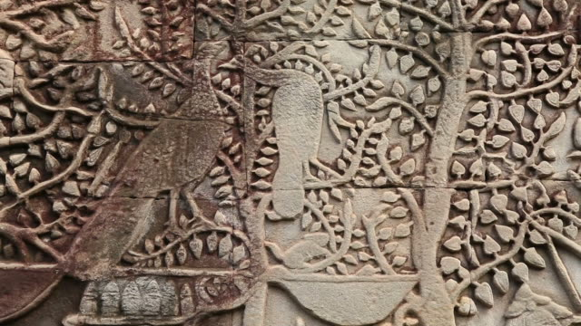 bas-relief at the bayon showing daily life scenes - bas relief stock videos & royalty-free footage