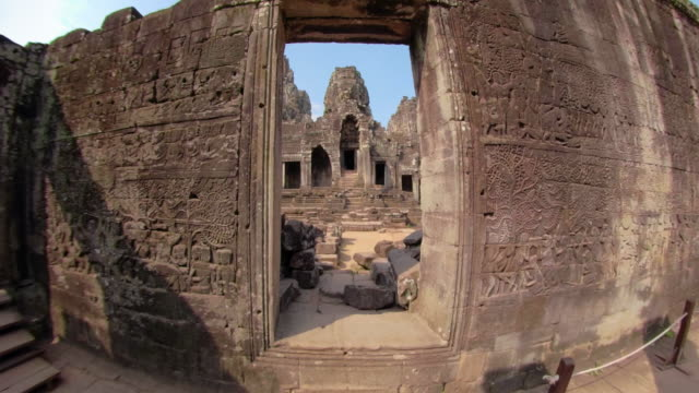 zo / bas-relief on wall at bayon temple - bas relief stock videos & royalty-free footage