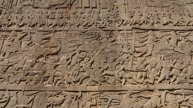 td / bas-relief on wall at bayon temple - bas relief stock videos & royalty-free footage