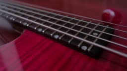 Bass guitar strings vibrate after being touched, close-up